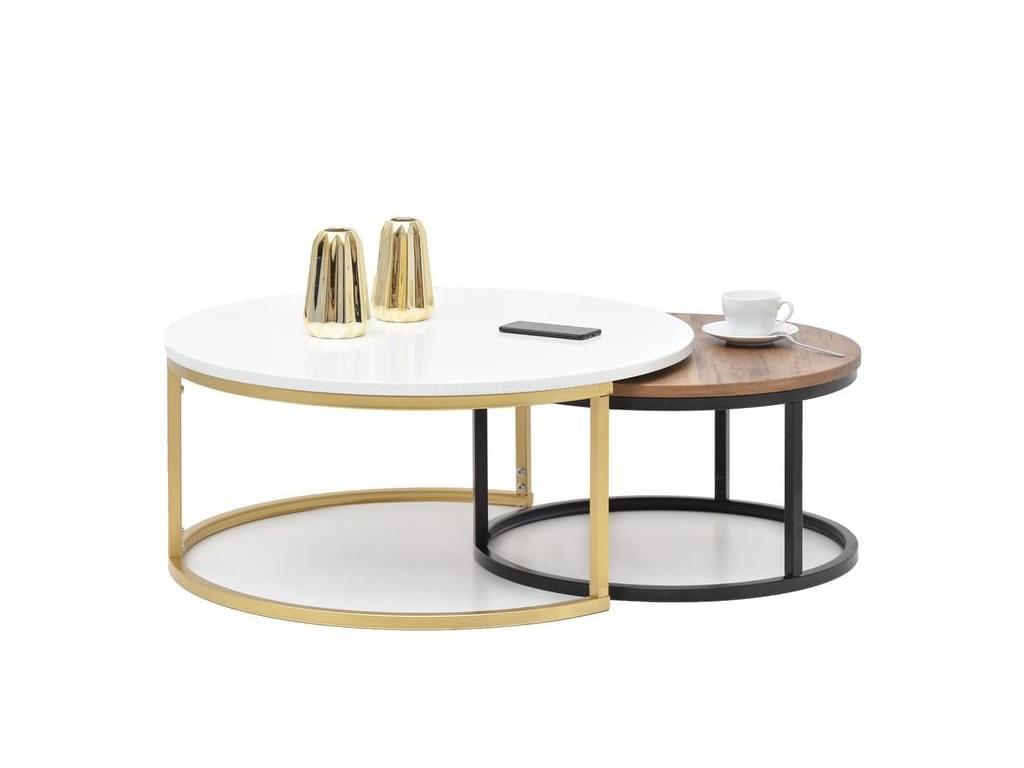 design4life Konferenční stolek 2-Set KORRA bílá/ořech-zlatá/bílá podnož