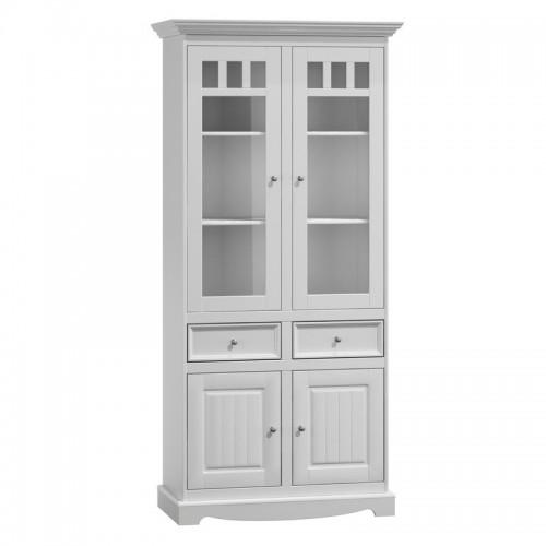 Bílý nábytek Belluno Elegante 2d, dřevěná vitrína z masivu, bílá 232019119
