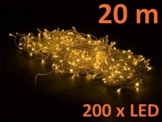 OEM M01223 Vánoční LED osvětlení 20 m, teple bílé, 200 diod