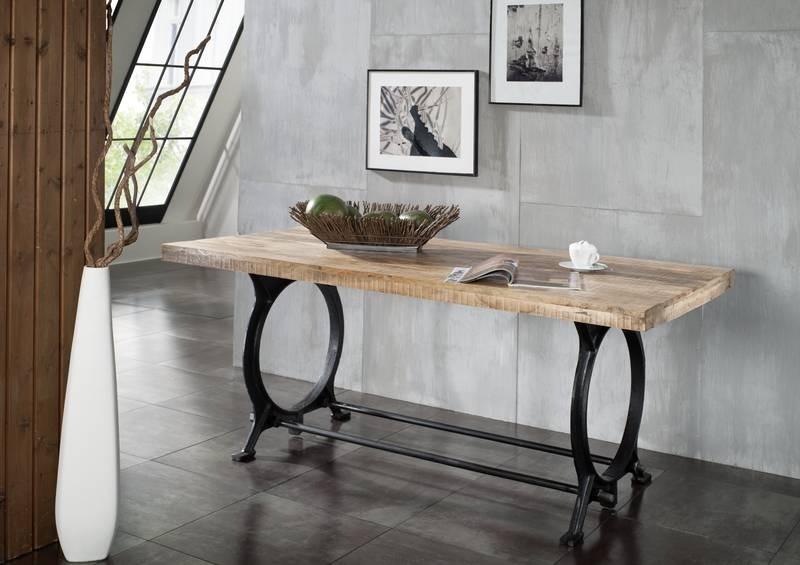 Masiv24 - INDUSTRY jídelní stůl 220x100, litina a staré dřevo