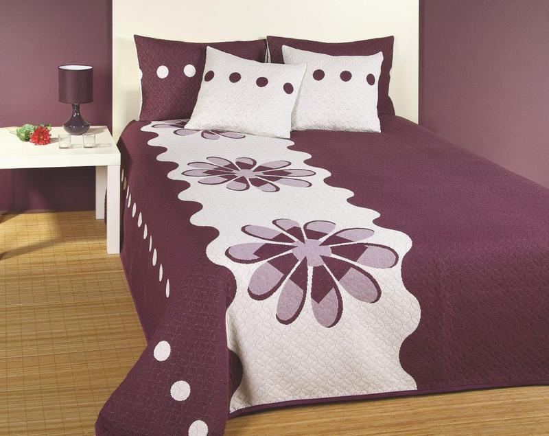 Forbyt  Přehoz na postel s návleky, Margot, fialová, 240 x 260 cm  240 x 260 cm + 2 ks 40 x 40 cm