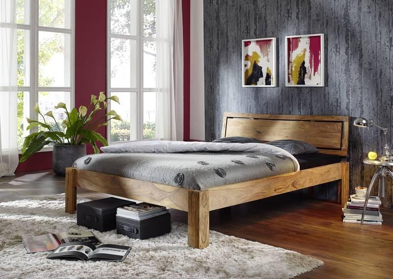 Masiv24 - Sheesham postel 160x200, masivní palisandrové dřevo LIGHT WOOD