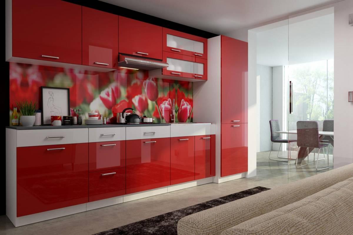 Kuchyňská linka 300 cm v kombinaci červený a bílý lesk F3017