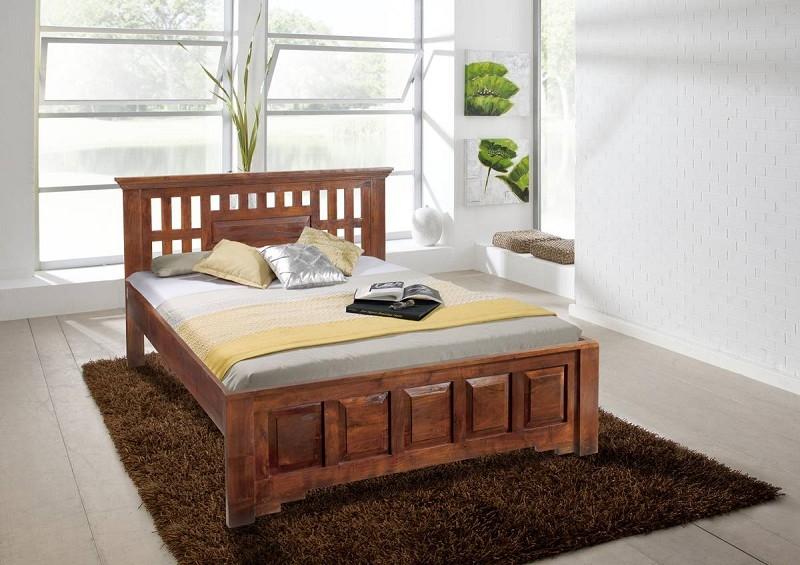 Masiv24 - Koloniální postel 200x200 masivní akátový nábytek CLASSIC CAMBRIDGE