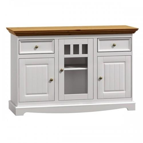 Bílý nábytek Dřevěná komoda Belluno Elegante, 3 dveřová, dekor bílá / dub, masiv, borovice 232019152