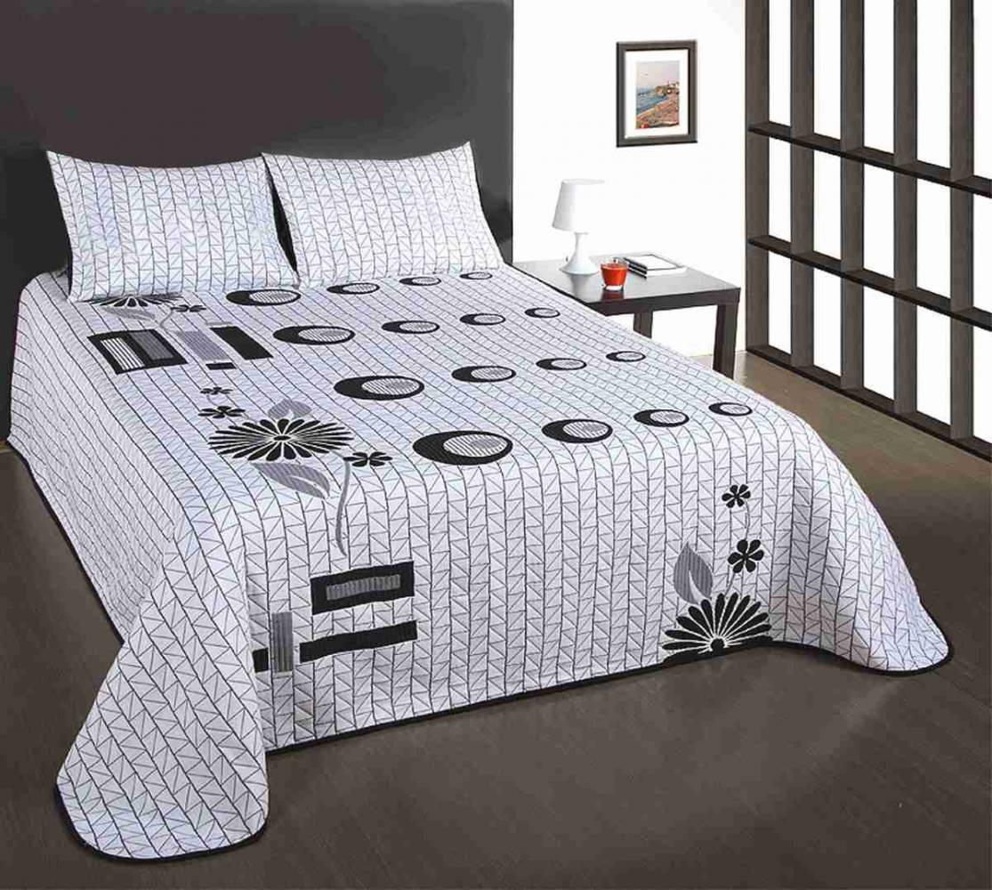 Forbyt  Přehoz na postel s návleky, Good-Night, černobílý, 240 x 260 cm  160 x 220 cm + 40 x 40 cm