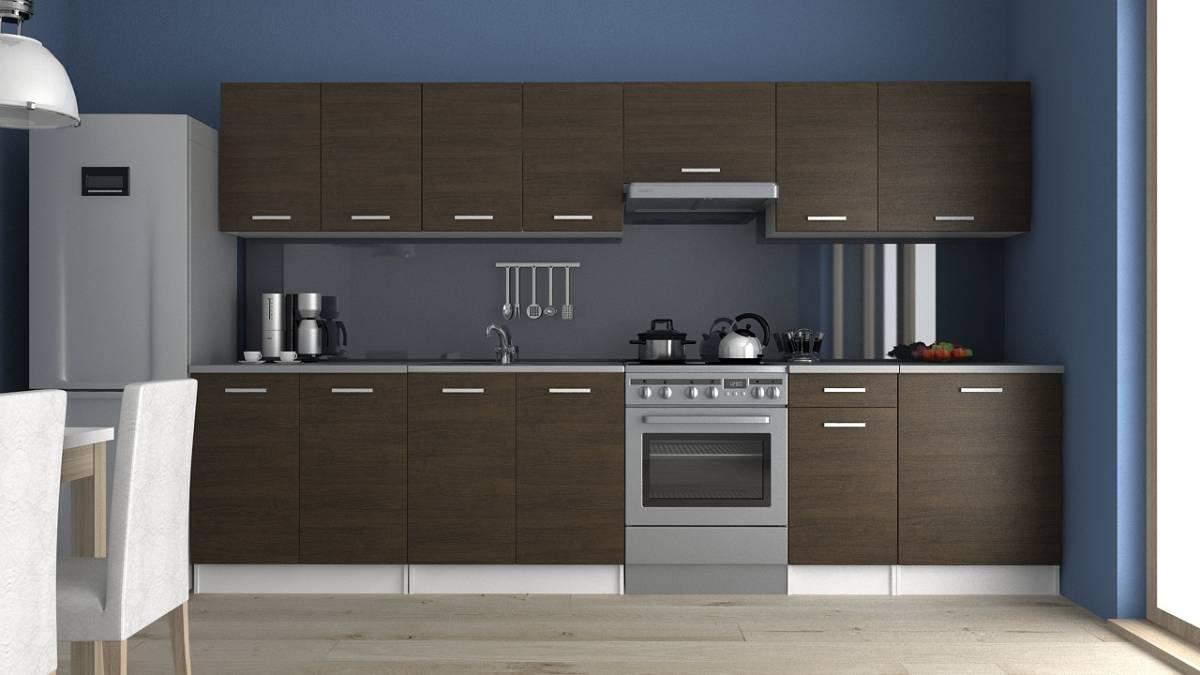 Moderní kuchyňská linka v dekoru dub wenge 320 cm F1427