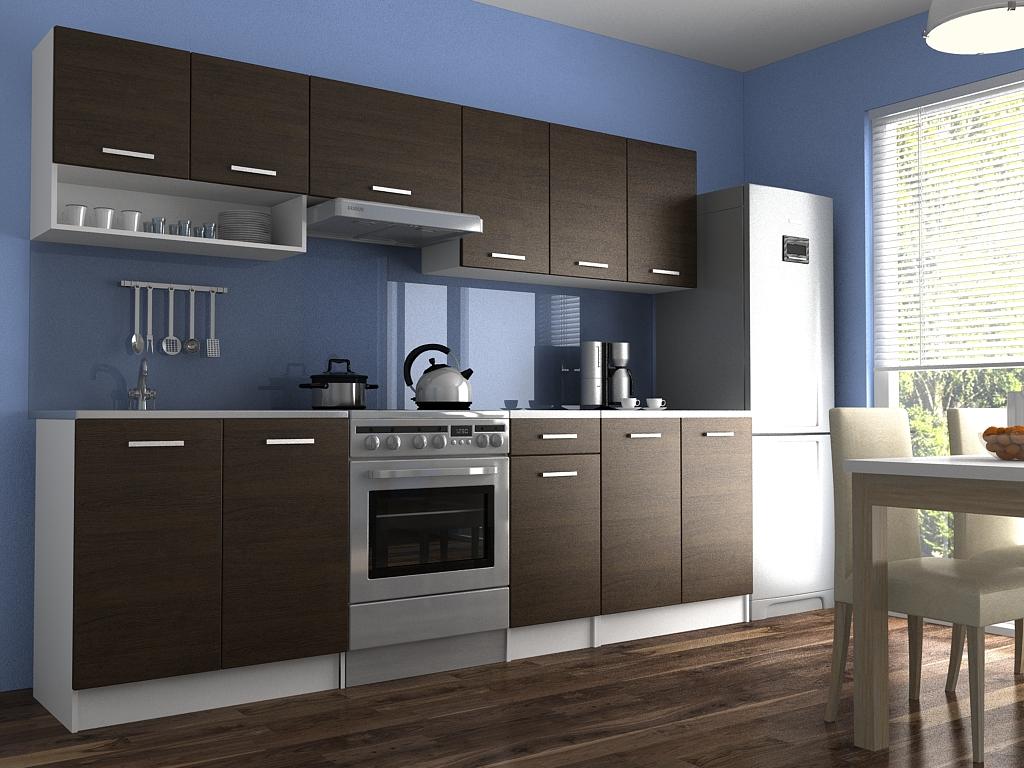 Moderní kuchyňská linka s poličkou v dekoru dub wenge 260 cm F1427