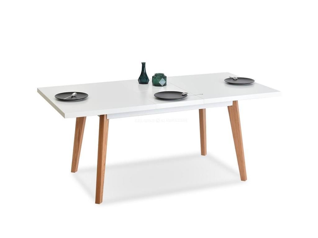 design4life Jídelní stůl rozkládací BADAN bílá lesk, dub