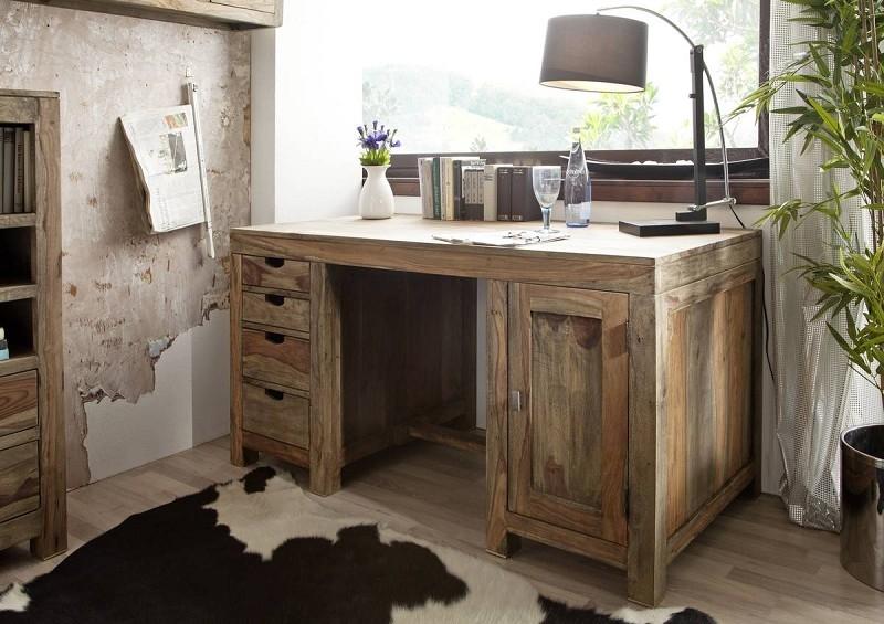 Masiv24 - Sheehsam psací stůl, masivní palisandrové dřevo GREY WOOD