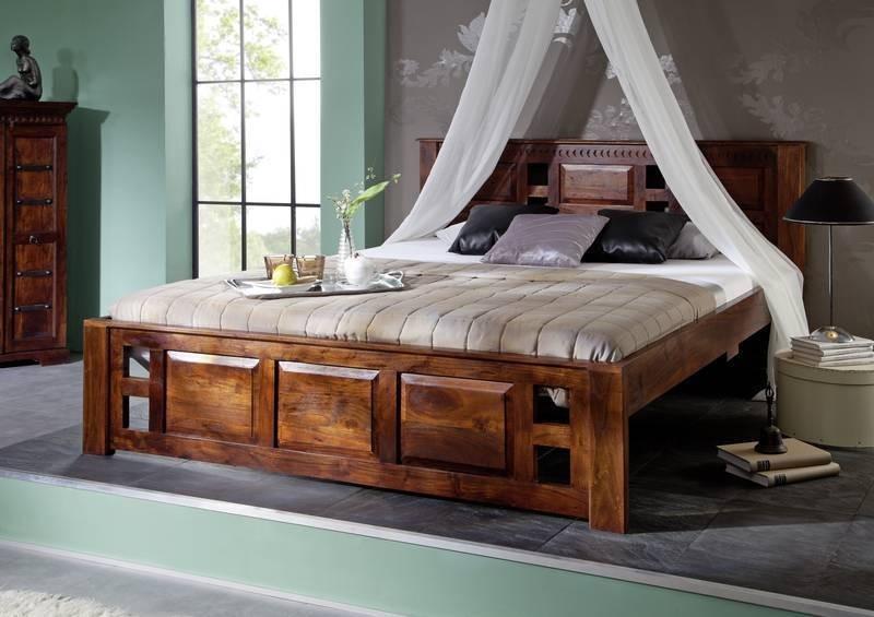Masiv24 - Koloniální postel 140x200 masivní akátový nábytek CLASSIC CAMBRIDGE