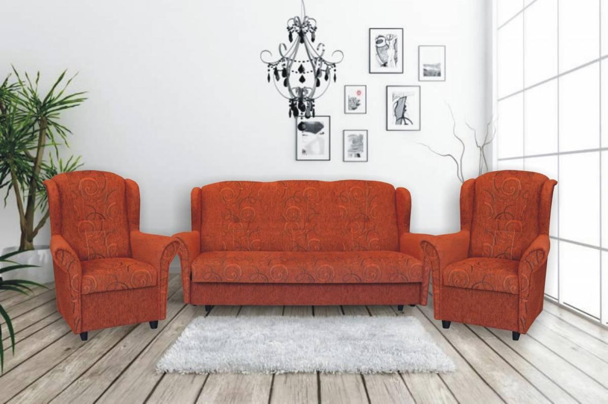 Pohodlná sedací souprava v oranžové barvě 3+1+1 F1416