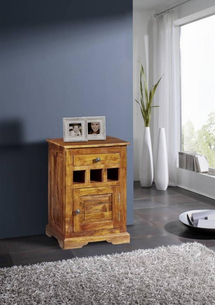 Masiv24 - CAMBRIDGE HONEY Kolonial noční stolek, masivní akátový nábytek, medová