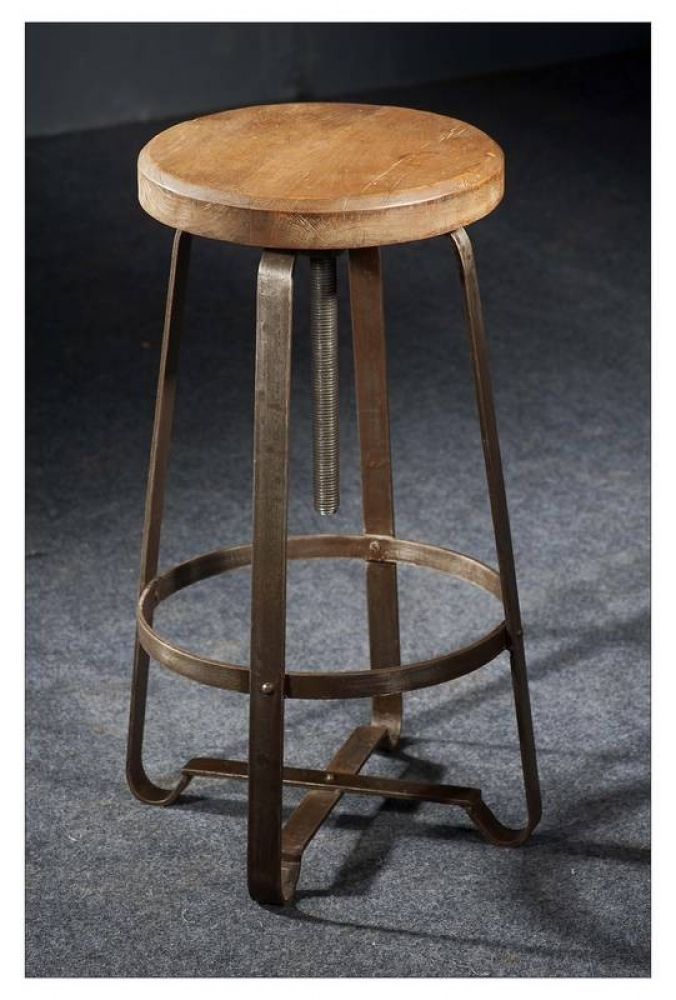 Masiv24 - INDUSTRY taburet, litina a staré dřevo
