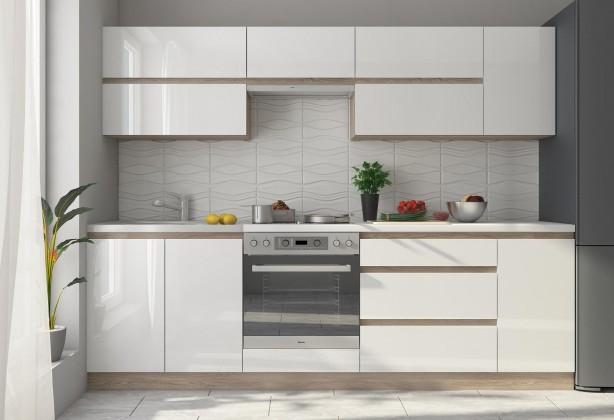 Kuchyně Line - 260 cm (bílá vysoký lesk/dub sonoma)