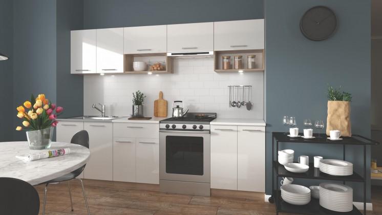 Kuchyně Viola - 260 cm (bílá/dub sonoma)