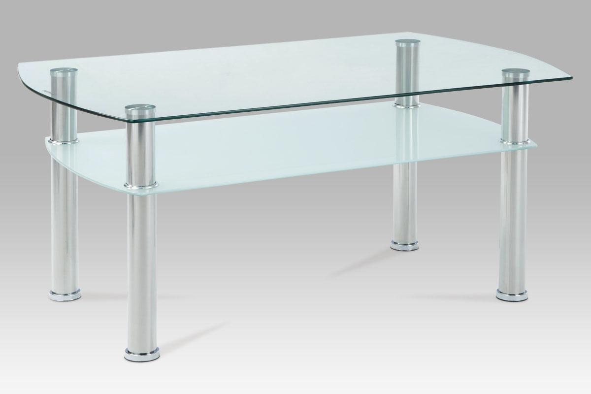 Konferenční stůl 100x60 cm v kombinaci sklo a leštěný nerez GCT-303 CLR1 AKCE