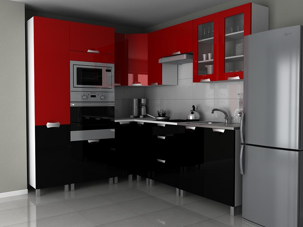 Kuchyňská linka v kombinaci černého a červeného lesku s úchytkami KRF F1330