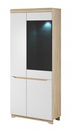 Avallon - Obývací vitrína, vysoká, pravá (buk ibsen/bílá)