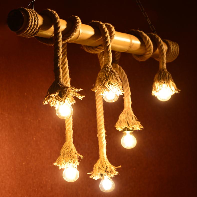 Lanové retro svítidlo - bambus 6xE27