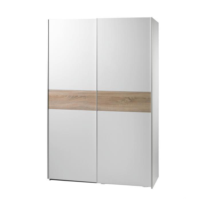 Dvoudveřová skříň, s posuvnými dveřmi, dub sonoma / bílá, VICTOR 1