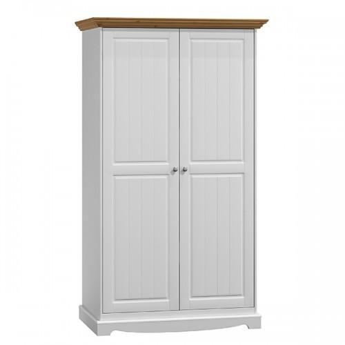 Bílý nábytek Šatní skříň Belluno Elegante 2D, dekor bílá / dub, masiv, borovice 301535644