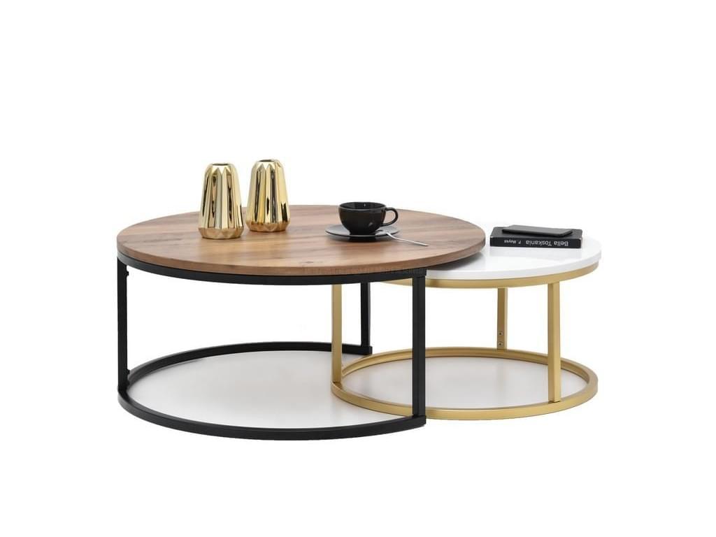 design4life Konferenční stolek 2-Set KORRA ořech/bílá-černá/zlatá podnož
