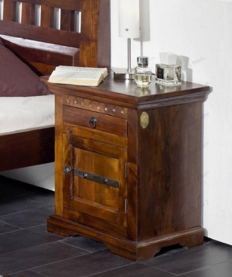 Masiv24 - Koloniální noční stolek, masivní akátový nábytek CAMBRIDGE