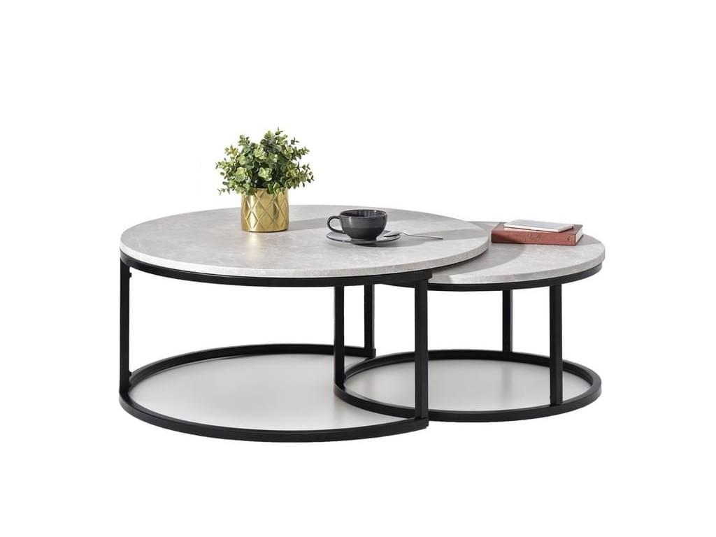 design4life Konferenční stolek 2-Set KORRA šedý mramor/černá podnož