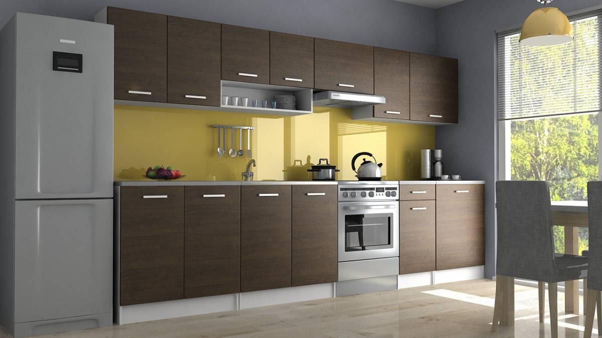 Moderní kuchyňská linka s poličkou v dekoru dub wenge 320 cm F1427