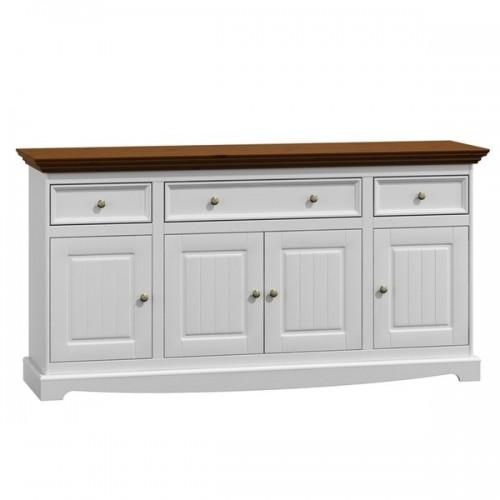 Bílý nábytek Dřevěná komoda Belluno Elegante 4.3, dekor bílá / ořech, masiv, borovice 336442614