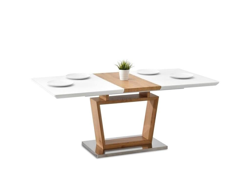 design4life Jídelní stůl TREJDO 140-180 cm bílá dub