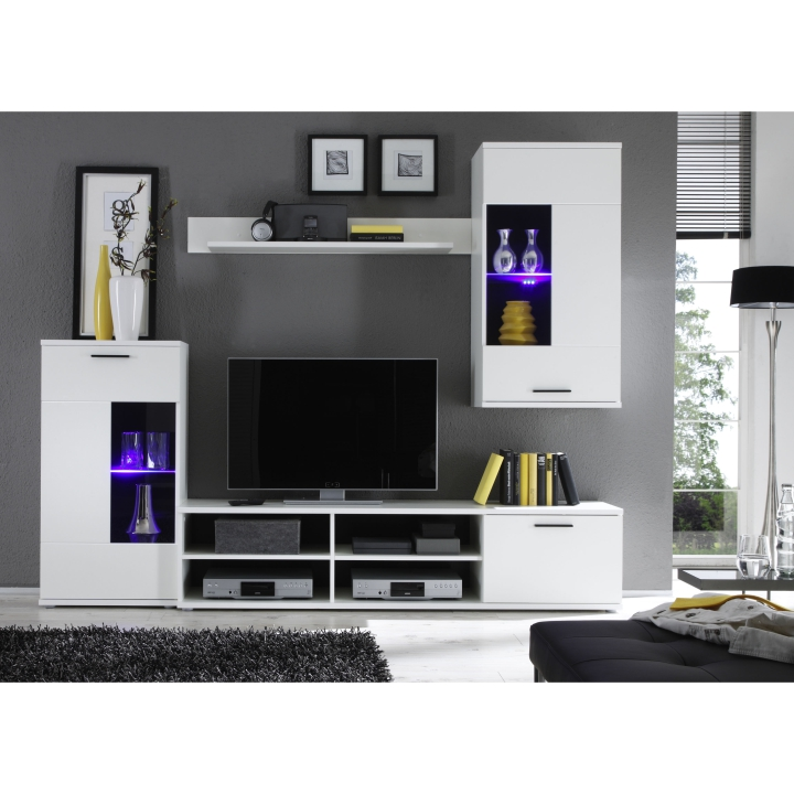 Obývací stěna s LED osvětlením v moderním provedení bílá FRONTAL 1