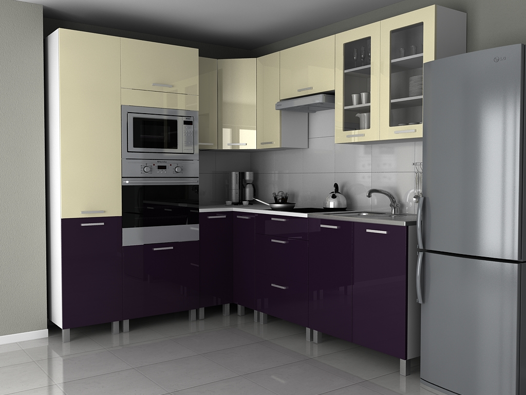 Kuchyňská linka v kombinaci fialového a vanilka lesku s úchytkami KRF F1330
