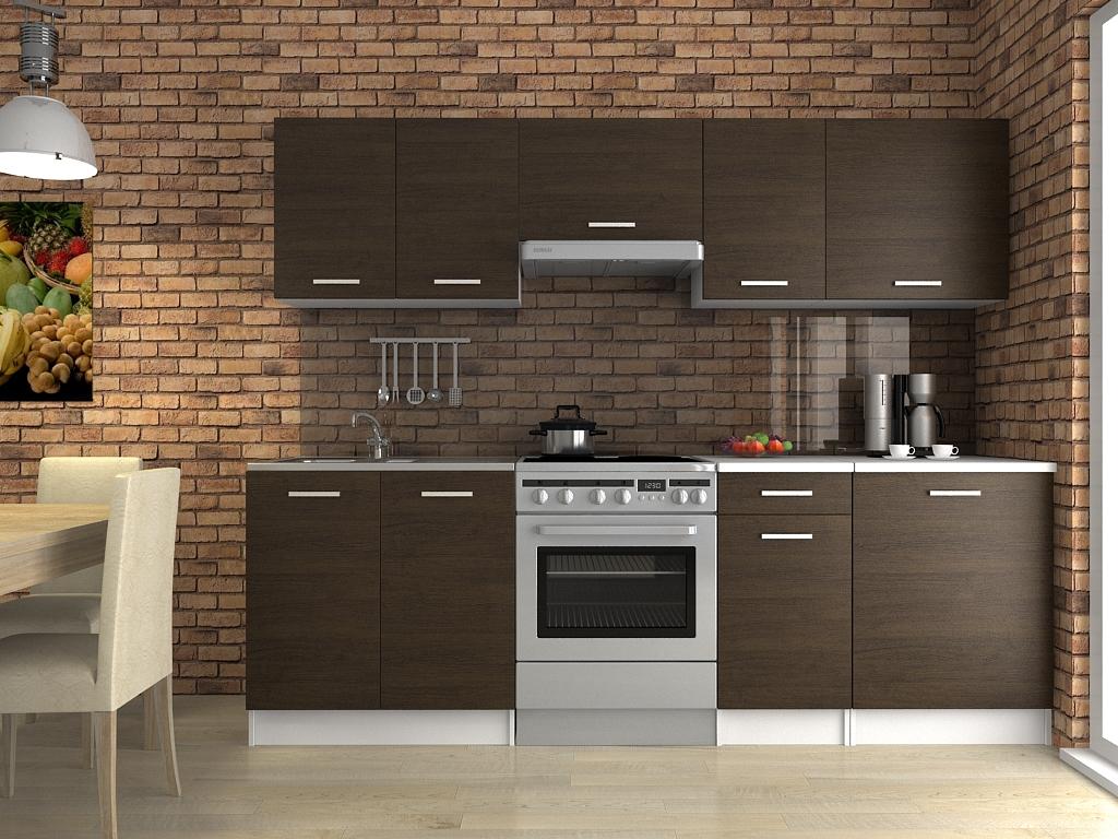 Moderní kuchyňská linka v dekoru dub wenge 240 cm F1427