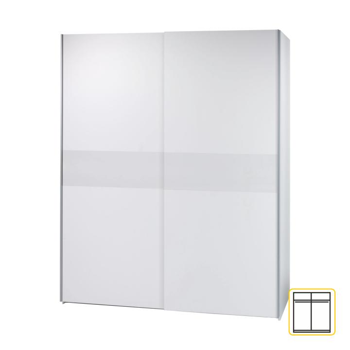 Dvoudveřová skříň, s posuvnými dveřmi, bílá, VICTOR 2