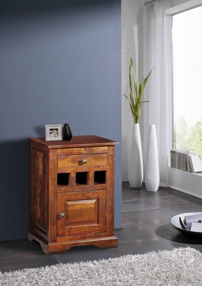 Masiv24 - CAMBRIDGE Koloniální noční stolek, masivní akátové dřevo