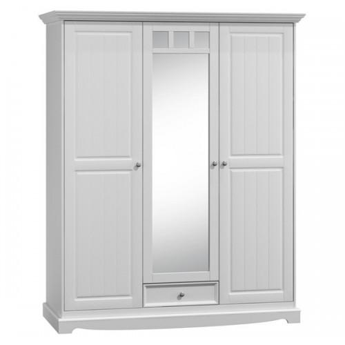 Bílý nábytek Šatní skříň Belluno Elegante 3D, bílá, masiv, borovice 232019123