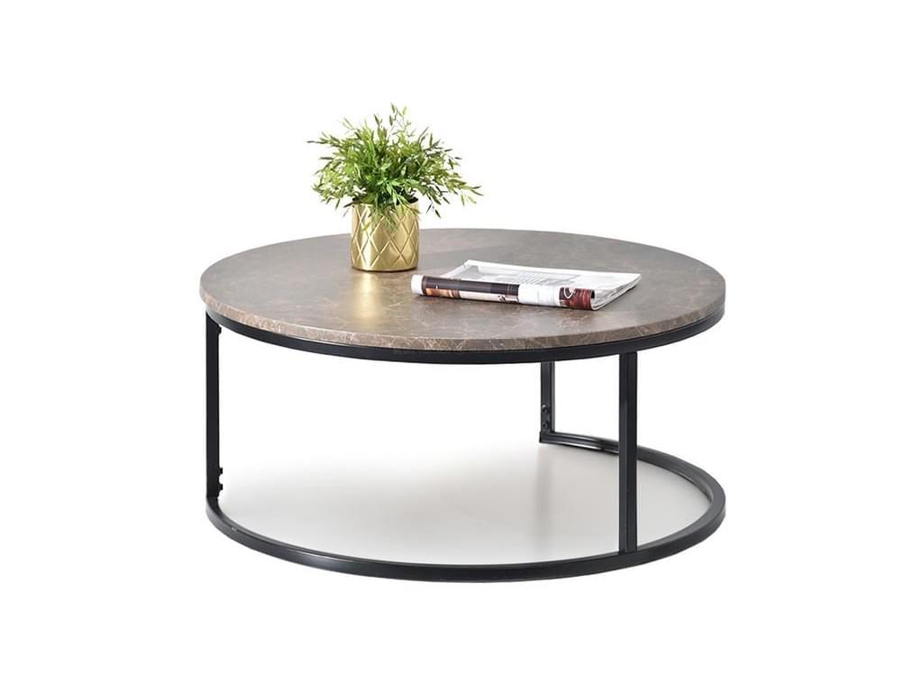 design4life Konferenční stolek KORRA XL hnědý mramor/černá podnož
