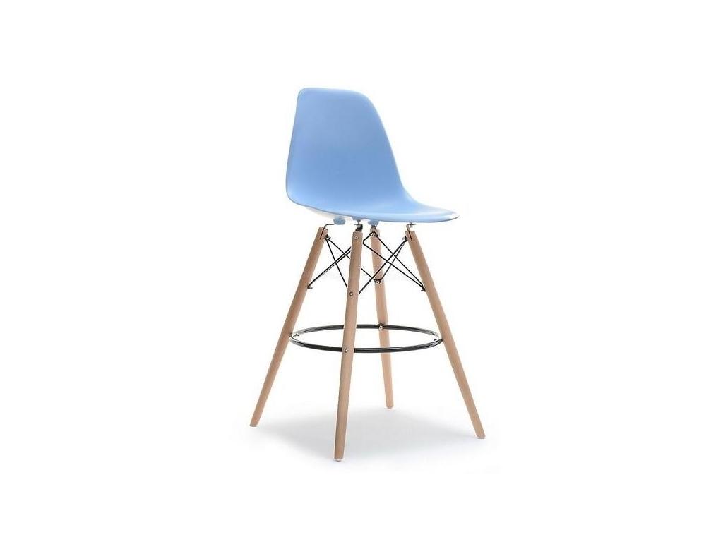 design4life Barová židle MOBI Modrá - dřevěná podnož