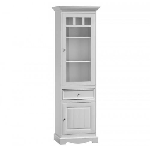 Bílý nábytek Belluno Elegante, úzká dřevěná vitrína, bílá, masiv, borovice 269690676