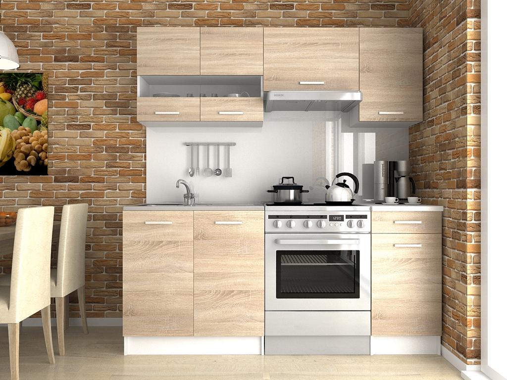 Moderní kuchyňská linka s poličkou a šuplíky v dekoru dub sonoma 180 cm F1427