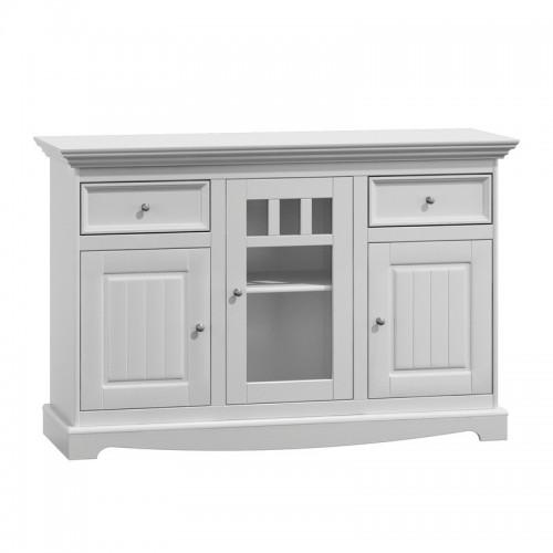 Bílý nábytek Belluno Elegante, 3 dveřová dřevěná komoda, bílá, masiv, borovice 232019112