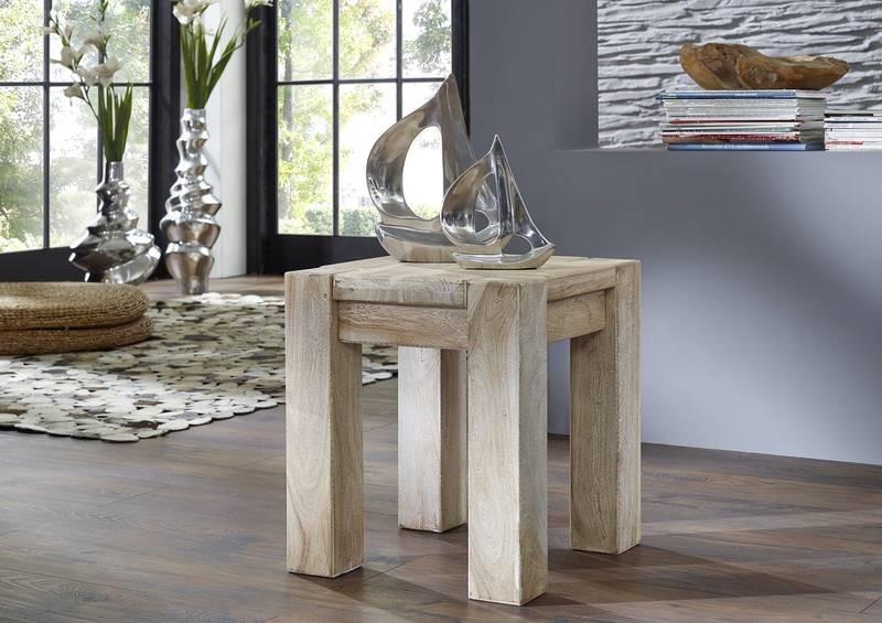 Masiv24 - WHITE WOOD taburet malovaný akátový nábytek