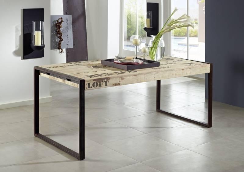 Masiv24 - FABRICA jídelní stůl, 140x90 litina a mangové dřevo, potlač