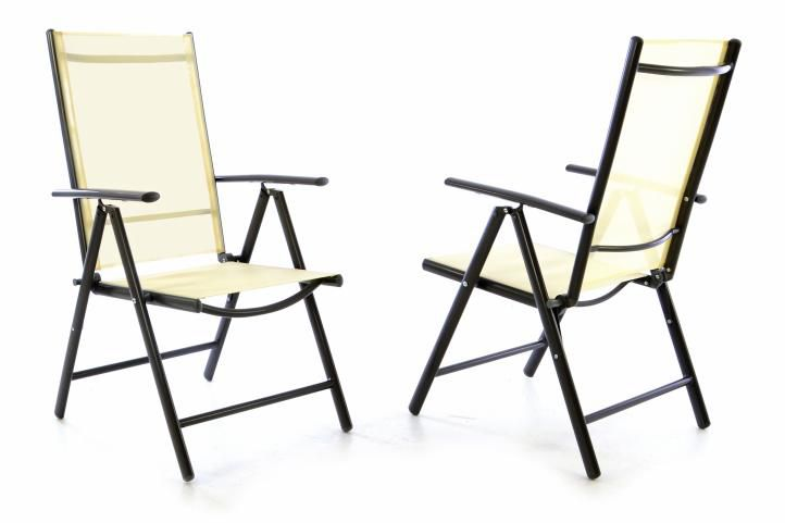 Garthen 40747 Sada dvou zahradních polohovatelných židlí - krémová