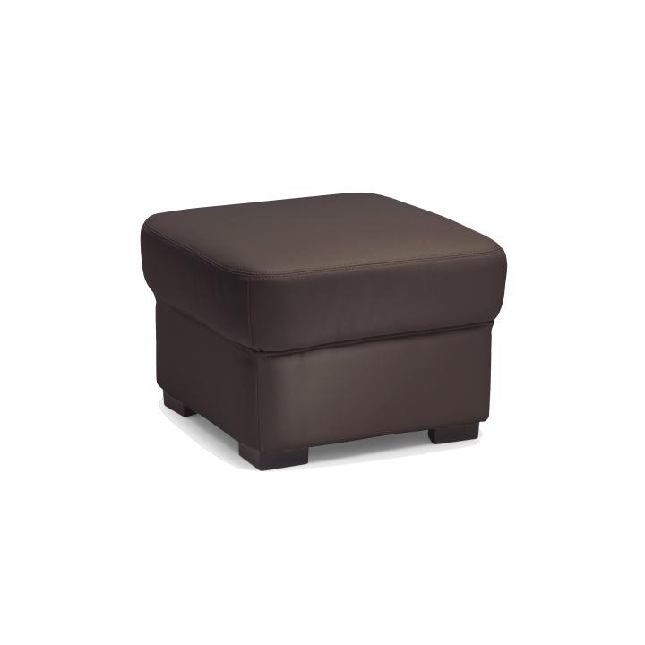 Kožený taburet v luxusním koženém provedení tmavě hnědý DANILO