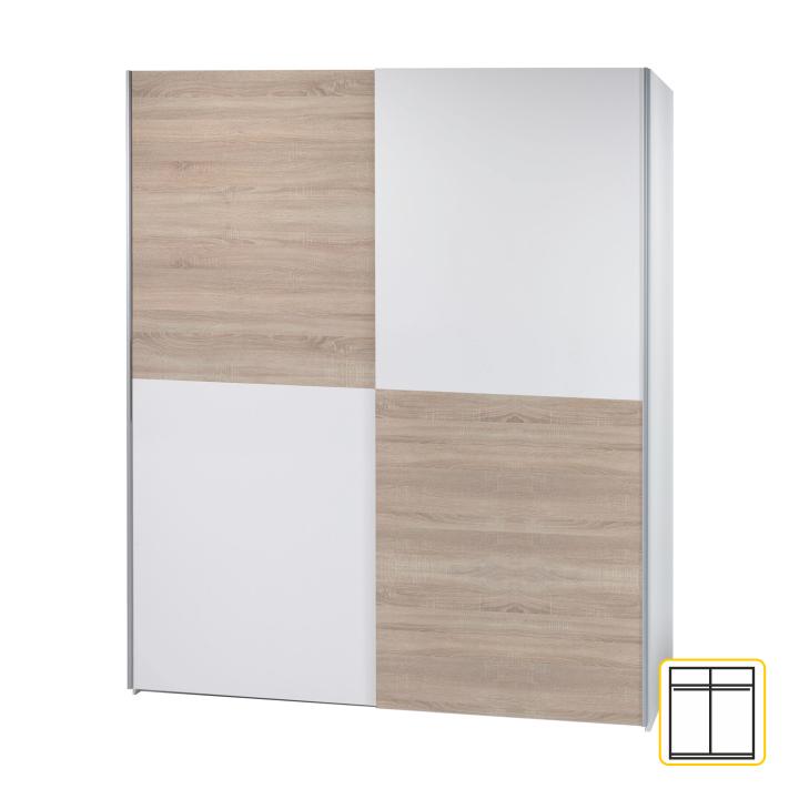 Dvoudveřová skříň, s posuvnými dveřmi, šachovnice, dub sonoma / bílá, VICTOR 2