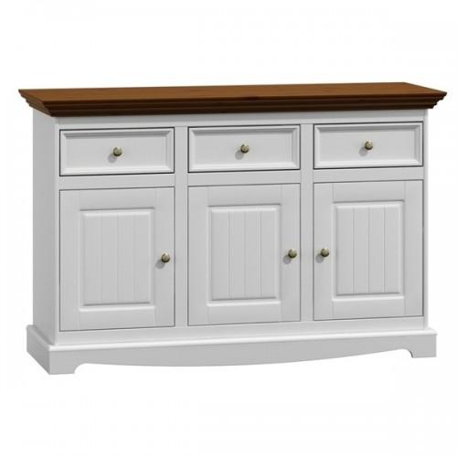 Bílý nábytek Dřevěná komoda Belluno Elegante 3.3, dekor bílá / ořech, masiv, borovice 232019183