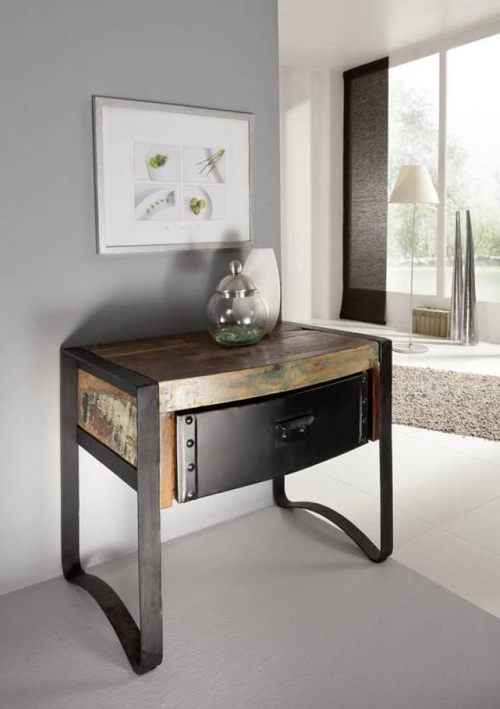 Masiv24 - INDUSTRY noční stolek, litina a staré dřevo